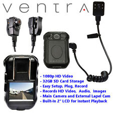 Ventra BCR-300 Body Worn Wearable Camera Audio Video Security Guard Police Lapel