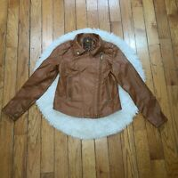 Dollhouse Women's Brown Faux Leather Moto Jacket Size Medium M