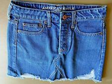 American Eagle Jean Skirt Distressed Frayed Edge Blue Denim Size 2 NEW