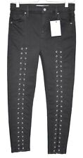 Topshop SKINNY JAMIE High Waisted Black LACE UP Stretch Crop Jeans 12 W30 L30