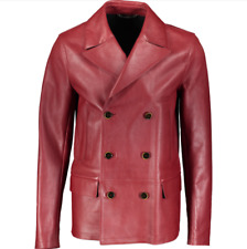 DOLCE & GABBANA Double Breasted Leather Jacket - Red - UK 38/IT 48