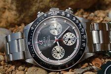Alpha Mechanical chronograph SG2903 Watch Black Dial And Glass Display Back