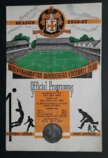 Wolverhampton Wanderers v Manchester United 1956 - 1957 football programme