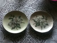 2 Hand Painted Gardenia Flower Shabby Chic Pink Green Yellow Grey Plate Wall 7""