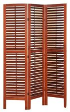 3 Panel Solid Wood Screen Room Divider with Full Length Shutters, Walnut