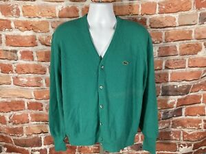vintage Mint Green Izod Lacoste Cardigan Sweater - sz XL - 80s indie grunge