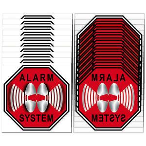 Set für 10 Fenster Alarm System Aufkleber 5cm rot Sticker Innenseite Glasscheibe