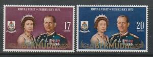 BERMUDA 1975 Royal Visit of Queen Elizabeth II & Pr Philip SG 291/2 MNH ROYALTY