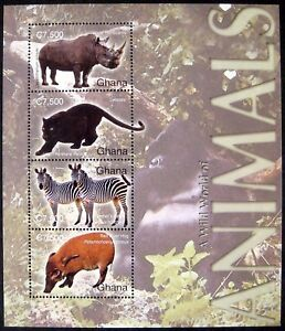 2004 MNH GHANA WILD ANIMALS STAMP SHEET WILDLIFE RHINO ZEBRA LEOPARD HOG GORILLA