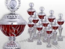10er Pokalserie Pokale RED STARLIGHT mit Gravur günstige Pokale silber / rot