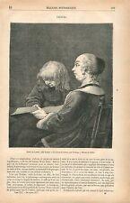 Leçon de Lecture Gérard ter Borch Terburgh Terburg le Jeune GRAVURE PRINT 1877