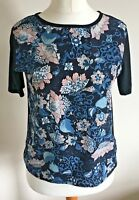 Dorothy Perkins Size 8 Ladies Black T Shirt Top With Pink & Blue Print