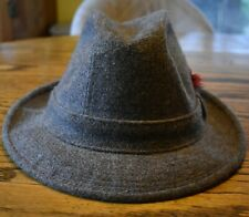 STETSON HAT WOOL FEDORA GREY WITH RED AND BLACK FEATHER