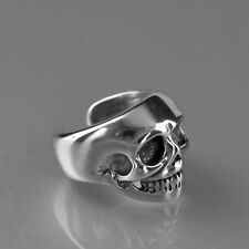 silver skull ear cuff clip on non-piercing stainless steel single earring unisex