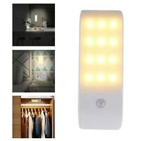 12 LED Motion Sensor Lights PIR Wireless Night Light USB Cabinet Stair Lamp New