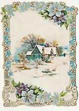 Large Victorian Greeting Card, Embossed, Die Cut, Lithographed, House in Snow