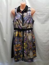ALLY SIZE 10 BLACK MULTI COLOURED BUTTON UP DRESS PARTY  WEDDING