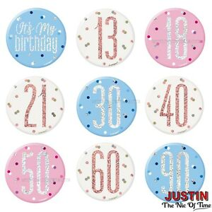 "Birthday BADGE All Milestone Ages Party BIG 3"" Male Female Boy Girl"