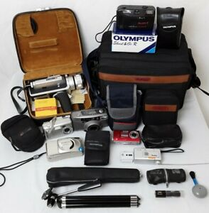 Large vintage camera bundle, job lot of various digital, film, movie cameras +