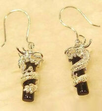 Black Agate Stick 18KWGP Dragon Pendant Earrings