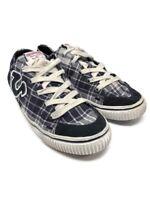 True Religion Low Top Black Canvas Sneakers Men's Size 9.5 Plaid TR118121