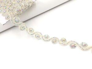 17'' Beautiful Bridal Silver Ab Rhinestone Belt Bridal Lace For Wedding Dress Tr