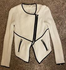 VERONICA BEARD Zip Cropped  Sweater Jacket Size XS Cotton White Spring Summer