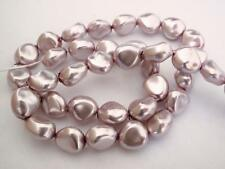 12 11 x 9 mm Czech Glass Nugget Beads: Pearl Coated - Lilac