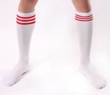 Mens White & Red Stripe Socks Gay Club Fetish Wear Football Sports Stockings