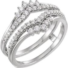 1.00 ct Prong Set Solitaire Enhancer Diamond Ring Guard Wrap 14k White Gold Over