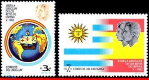 1138-39 URUGUAY 1983 VISIT KING JUAN CARLOS, SPAIN, SHIPS, FLAGS MI# 1164-65 MNH