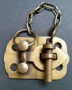 "Unique Vintage Style Cabinet Door Latch Solid Brass Hasp Pin Lock  1-7/8"" w. #X4"