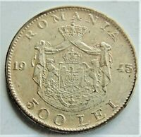 1945 ROMANIA, Mahai I, 500 Lei Silvered plated Brass, grading About EXTRA FINE.