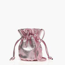 J.CREW NWT $98 Leather Pouch Drawstring Pink Metallic Crossbody Bucket Bag Purse