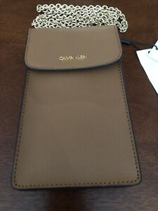 calvin klein crossbody brown button snap gold tone hardware new with tags