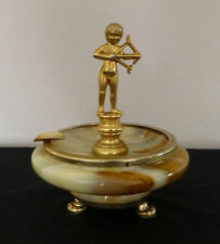 Vintage Onyx Ashtray with Figural Boy Archer