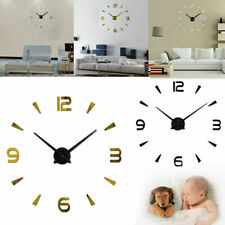 Reloj de pared moderna grande 3D superficie del espejo Adhesivo Decoración V ES