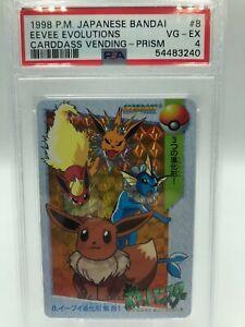 PSA 4 VG EX Pokemon Japanese Bandai Carddass 1998 Eevee Evolutions Prizm #8