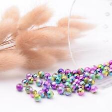 100 Acryl Sternenstaub Perlen 6 mm rund schimmernd Regenbogen Perlen