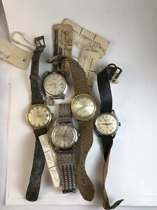Vintage LOT Mens Wrist Swiss Watches Lavina Favre Leuba Timor Rocar NOT working
