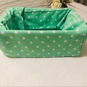 POTTERY BARN Mint Green White Dot Basket Liner