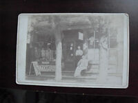 Vintage 1900 Original Photo Cabinet Card General Store with Soda Sign LOOK