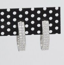 HUGGIE EARRINGS STERLING SILVER  HOOPS WHITE CZ CLASSIC DESIGN SILVER HUGGIES