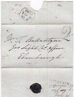 # 1836 DALKEITH & HANDSTRUCK 2 PMKS WRAPPER >EDINBURGH GAS LIGHT Co T BALLANTYNE