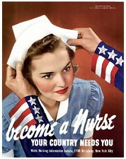 1942 Become a Nurse WWII American Patriotic Wartime Advertisement Poster Print