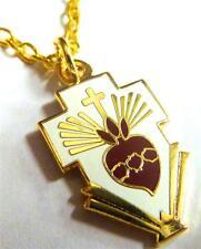 SACRED HEART Cross Jesus Catholic Pope Frances Necklace Pendant w/ Chain