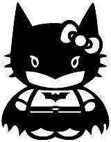 "Batman Dark Knight Hello Kitty Vinyl Decal 2 3/4"" x 2 1/8"" **Gloss Black**"