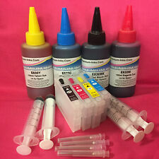 4x Refillable Cartridges + 400ml INK For Epson Expression Home XP205 XP212 XP215