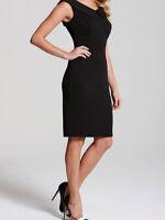 Ladies New Sleeveless Collar Detail Textured Bodycon Black Dress Size 8,14 UK