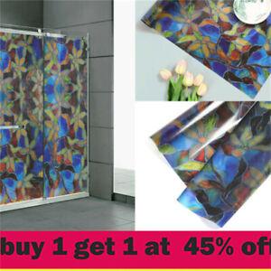 Stained Flower Window Film Self-Adhesive Static Glass Vinyl Sticker Home Decorli
